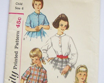 Simplicity 3613 UNCUT Girls Blouse Two Versions 1960s Vintage Sewing Pattern - Size 6