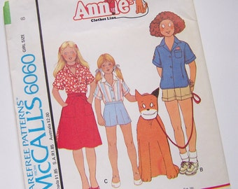 McCalls 6060 Size 8 Vintage ANNIE Girls Summer Outfits UNCUT Sewing Pattern - Camp Shirt - Shorts & Wrap Skirt
