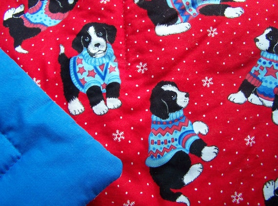 Sweet Black and White Puppy Dog Kids Cotton Quilt - Sweaters & Snowflakes for Christmas Cheer
