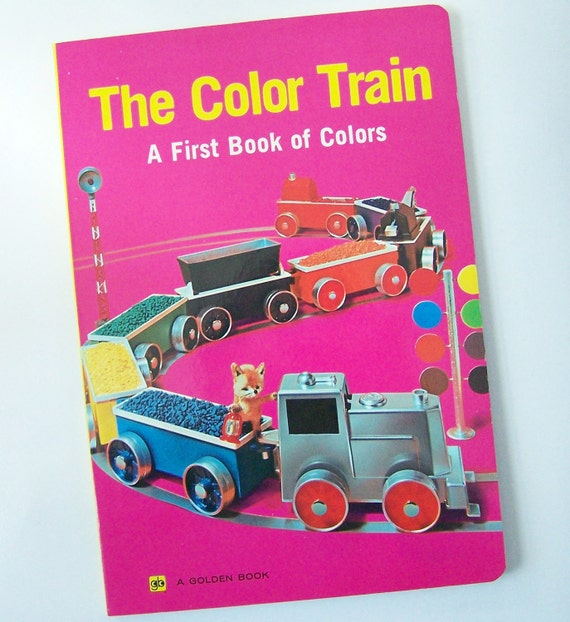 The COLOR TRAIN -  A Golden Book - Board Book - 11252  Large Size with Full Color Photographs - Vintage Toys