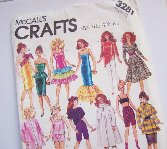 """McCalls 3281 Crafts Sewing Pattern for Barbie Dolls and 12 1/2"""" Fashion Dolls"""