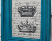 Vintage Upcycled Turquoise Frame with 8x10 Vintage Sheet Music Print