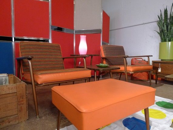 SALE PENDING Vintage Patio Chairs with Adjustable Ottoman