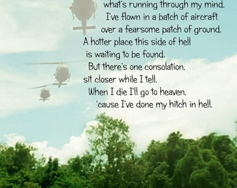Hitch In Hell Verse, Vietnam, Helicopters, Three Hueys, Jungle Photo 5x7 Digital Photocomposite