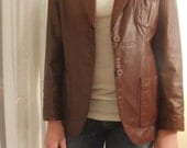 Vintage Etienne Aigner Leather Blazer Jacket Oxblood Size Small