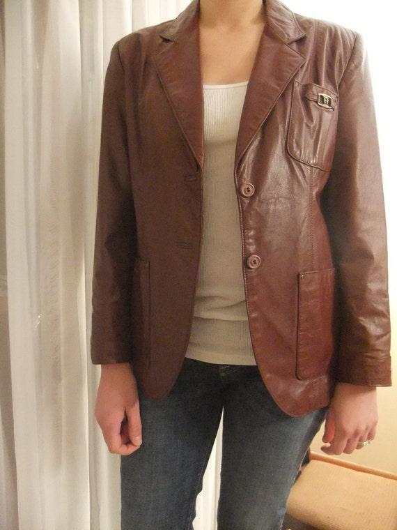 Vintage Etienne Aigner Leather Blazer Jacket Oxblood Size Small