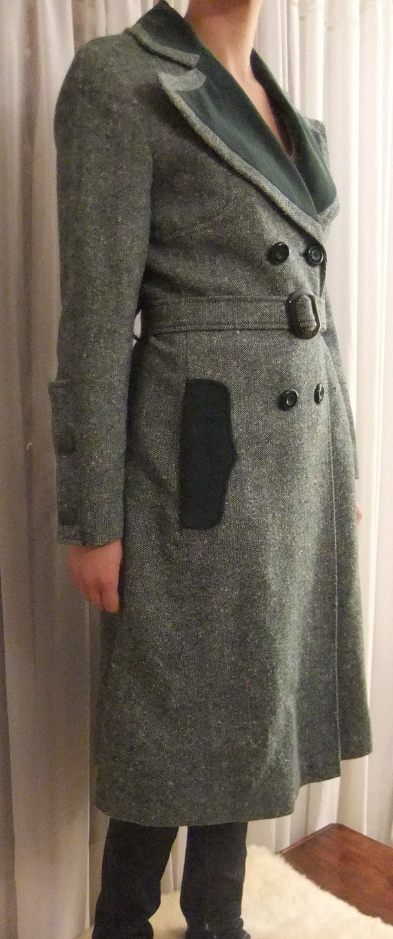 Tweed Coat Green Free Shipping