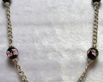 Black Lampwork Necklace  N-003