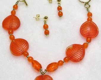 Orange Leaves Set  S-011