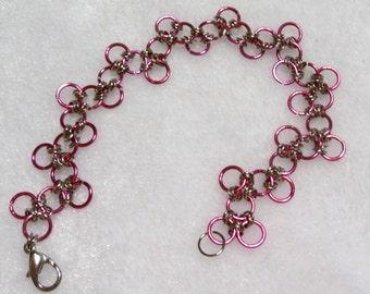 Pink Links Bracelet  B-055