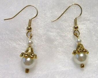 """Faux Pearl """"Clown"""" Earrings  E-082"""