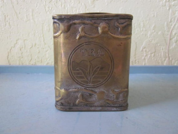 Vintage Brass Tea Tin