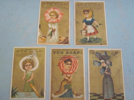 RESERVED Five Antique Victorian Charlotte Gilman Perkins Tub Soap Trade Cards