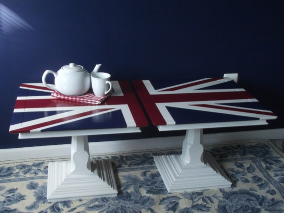 Pair Of Vintage Union Jack Side Tables Coffee Table By Meandphoebe