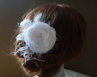 Bridal flower hair clip, with freshwater pearls and feathers