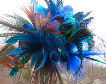 Peacock bridal bouquet, accented with rhinestones, floral feather bouquet