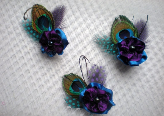 6 bridesmaid's purple- blue flower hair clips,  peacock feathers,  freshwater pearls