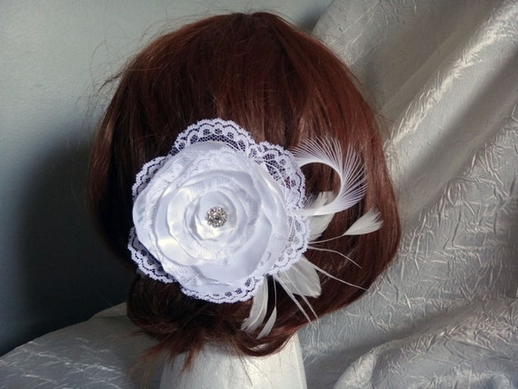 Bridal flower hair clip, lace satin handmade flower, geese ostrich feathers, rhinestone accent piece