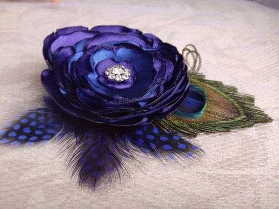 Purple blue peacock hair clip, for brides, bridesmaids, rhinestone, custom orders are accepted for more color combinations
