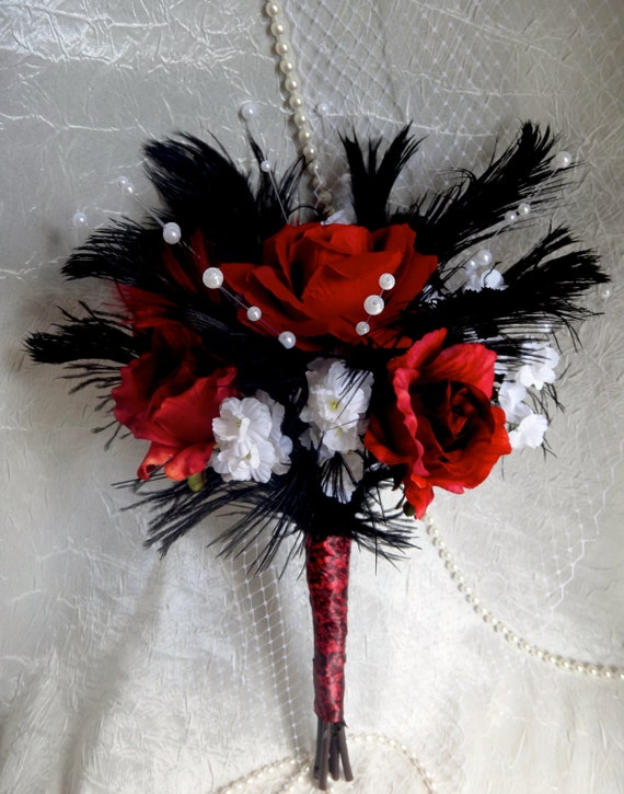 Red Rose Black Bridal Bouquet Black Ostrich Fathers White