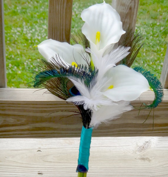 Wedding Bouquets Ideas Simple: Simple Calla Lily Bridesmaid Bouquet With White And Peacock