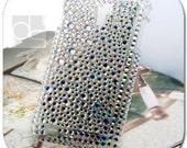 Sprint Samsung Epic Touch 4G D710 Galaxy S 2 II BLING Skin Case: Rhinestone Crystals Diamond Gems Hard Case Back Cover (Silver Diamante)