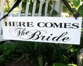Wedding Sign .. Here Comes the Bride AND Happily Ever After double sided elegant wedding ceremony decoration hanging wood sign