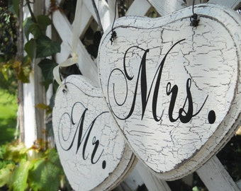 Shabby Mr and Mrs Hanging Wedding Hearts for the Bride and Groom