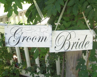 Bride and Groom Shabby Cottage Chic Personalized Hanging Wood Wedding Sign Decorations
