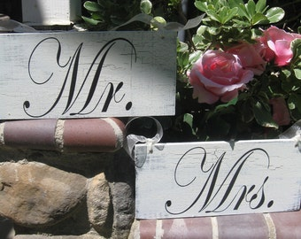 Wedding Signs TWO sided Mr and Mrs with Thank You - Shabby Cottage Chic Rustic n Woodland Hanging Sign
