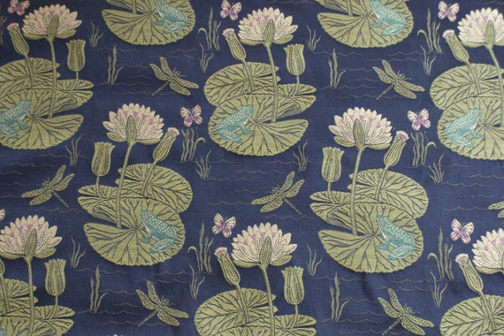 15 Yards Beautiful High Quality Frog Lily Pad Bug Upholstery Fabric Black Green