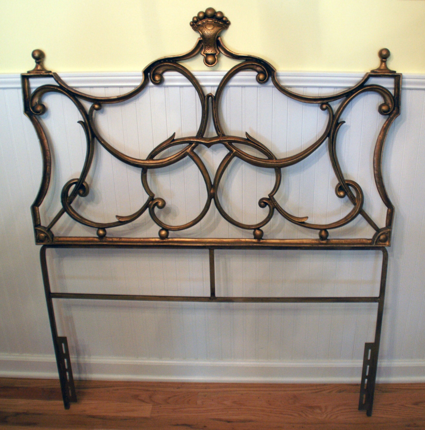 sale glamorous hollywood regency twin metal headboard. Black Bedroom Furniture Sets. Home Design Ideas