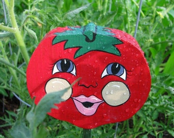 Juicy Red Tomato - Double Sided Wooden Garden Personality Plant Marker -Gift for the gardener