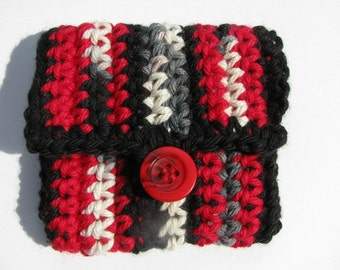One of a kind; Business Pocket - Pouch - Purse...Red & Black - eco friendly