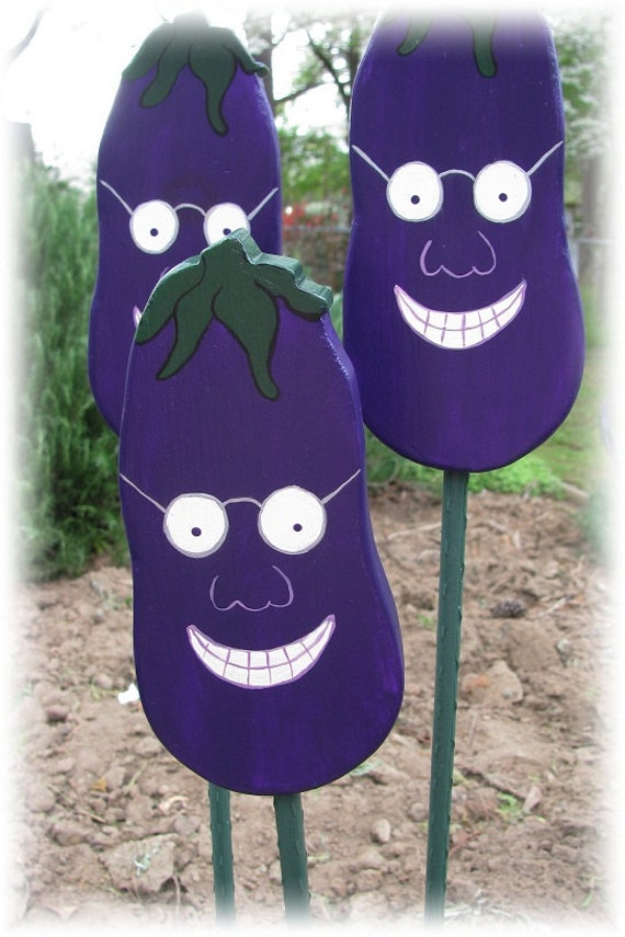 Eggplant - Double Sided Wooden Garden Personality Plant Marker -Gift for the gardener