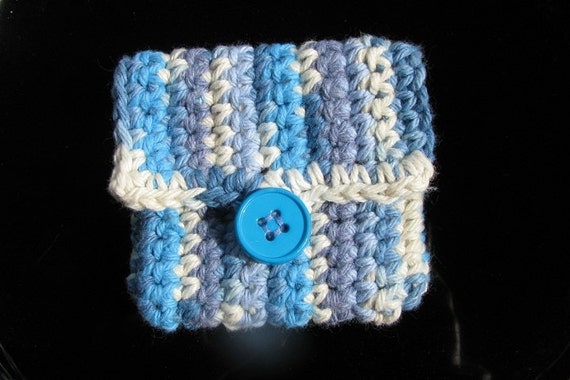 One of a kind; Business Pocket - Pouch - Purse...Blue & Ecru - eco friendly