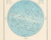 SEPTEMBER celestial glorious vintage map print