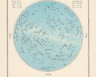 SEPTEMBER celestial glorious vintage map print