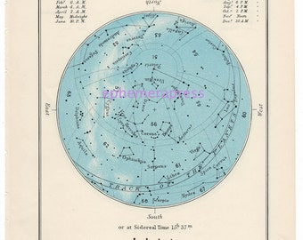 MAY celestial glorious vintage map print