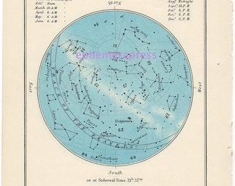 AUGUST celestial glorious vintage map print