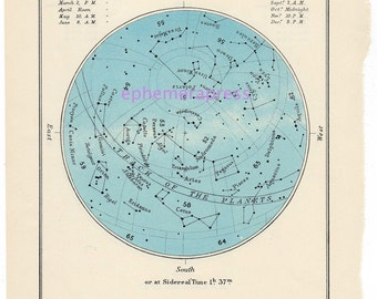 OCTOBER celestial glorious vintage map print
