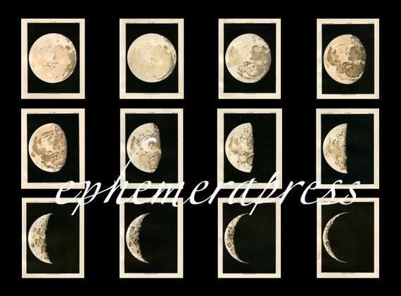 MOON PHASES set of 12 celestial astronomy prints