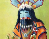 Hopi indian ceremonial mask Art Giclee Print of  Hopi Indian 8 x 10