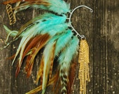 Feather Ear Cuff - Turquoise and Gold