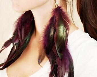 Extra Long Feather Earrings - Heartbeat