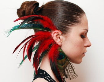 Feather Ear Cuff, Ear Cuff, Feather Earrings, Hippie, Hair Headpiece, Festivals, OOAK, Ear Jacket, Feather Ear Wrap, Ear Wrap