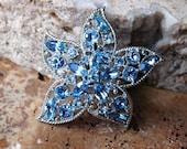 Vintage Sarah Coventry Star Fire Blue Crystal Brooch
