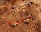 Orange Swarovski Crystal Gold Hoop Dangle Earrings french hook ear wires