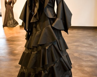 Femme Fatal 2, ruffled art piece, costume coat, wearable