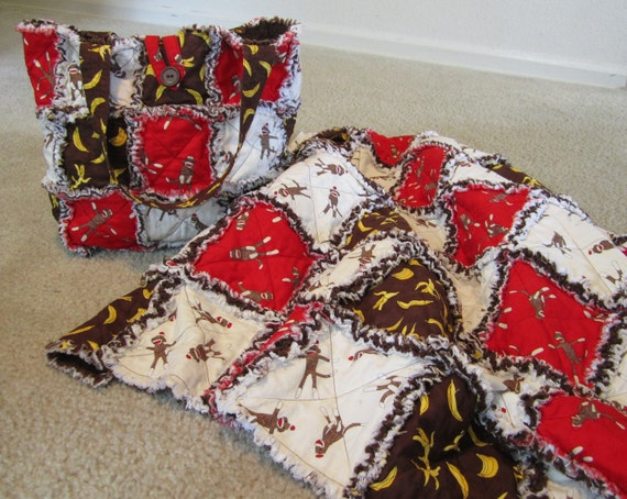Sock Monkey Baby Quilt and Bag Set